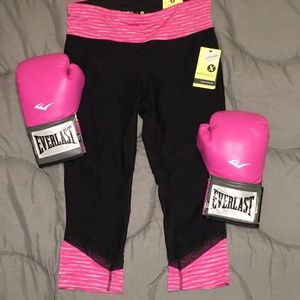 Black pink stripe performance fit capri
